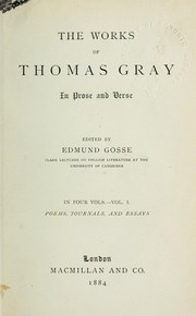 Cover of: The works of Thomas Gray in prose and verse | Thomas Gray