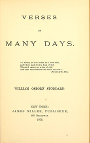 Cover of: Verses of many days
