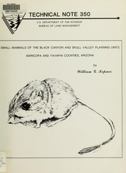 Cover of: Small mammals of the Black Canyon and Skull Valley planning units, Maricopa and Yavapai Counties, Arizona