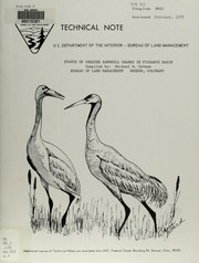 Cover of: Status of greater sandhill cranes in Piceance Basin