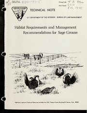 Cover of: Habitat requirements and management recommendations for sage grouse | Mayo W. Call