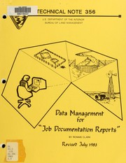 Cover of: Data management for job documentation reports