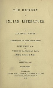 Cover of: The history of Indian literature | Albrecht Friedrich Weber