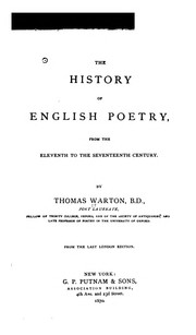 Cover of: The history of English poetry by Warton, Thomas