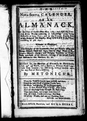 Cover of: The Nova-Scotia calender, or, An almanack, for the year of the Christian æra, 1784 | Metonicus