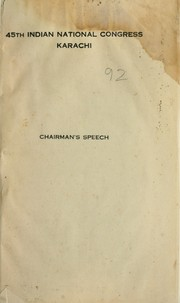 Cover of: Chairman's speech | Choithram P. Gidwani