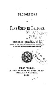 Cover of: Proportions of pins used in bridges | Charles [E Bender