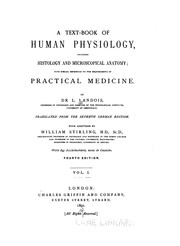 Cover of: A Text-book of human physiology v.2 | Leonard Landois