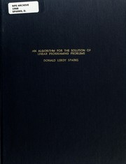 Cover of: An algorithm for the solution of linear programming problems
