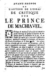 Cover of: Anti-Machiavel, ou Essai de critique sur le Prince de Machiavel | Voltaire