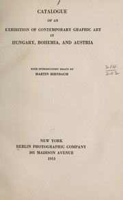 Cover of: Catalogue of an exhibition of contemporary graphic art in Hungary, Bohemia, and Austria
