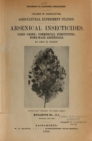 Cover of: Arsenical insecticides