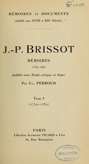 Cover of: J.-P. Brissot : Mémoires (1754-1793)
