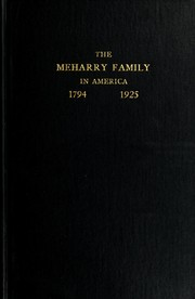 Cover of: History of the Meharry family in America