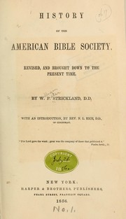 Cover of: History of the American Bible society | William Peter Strickland