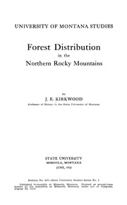 Cover of: Forest distribution in the northern Rocky Mountains