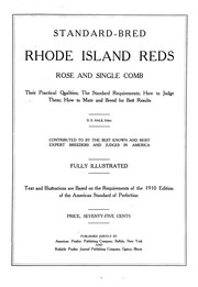 Cover of: Standard-bred Rhode Island reds, rose and single comb | Dwight Edward Hale