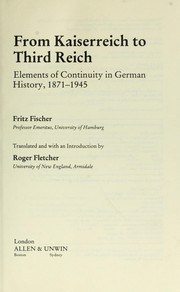 Cover of: From Kaiserreich to Third Reich