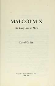 Cover of: Malcolm X | David Gallen