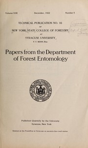 Cover of: Papers from the Department of Forest Entomology