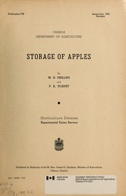 Cover of: Storage of apples | W. R. Phillips