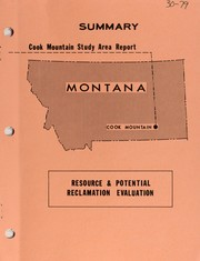 Cover of: Cook Mountain study area report