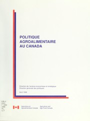 Cover of: Politique agroalimentaire au Canada