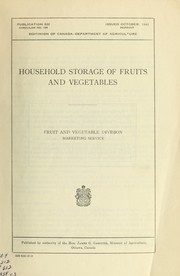 Cover of: Household storage of fruits and vegetables | R. E. Robinson