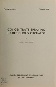 Cover of: Concentrate spraying in deciduous orchards