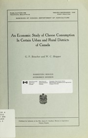 An economic study of cheese consumption in certain urban and rural districts of Canada