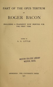 Cover of: Part of the Opus tertium of Roger Bacon, including a fragment now printed for the first time