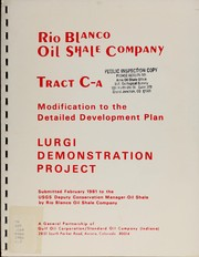 Cover of: Rio Blanco Oil Shale Company Tract C-a modification to the detailed development plan