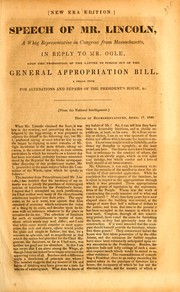 Cover of: Speech of Mr. Lincoln, a Whig representative in Congress from Massachusetts