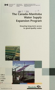Cover of: The Canada-Manitoba Water Supply Expansion Program | Canada-Manitoba Water Supply Expansion Program.