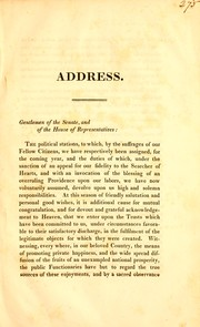 Cover of: Address by His Excellency Levi Lincoln, delivered before the two branches of the legislature, January 8, 1833