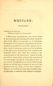 Cover of: Message of His Excellency Levi Lincoln, communicated to the two branches of the legislature, January 6, 1830