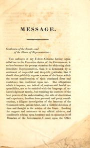Cover of: Message of his excellency Levi Lincoln, transmitted to the two branches of the legislature, January 9, 1832