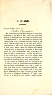Cover of: Message of His Excellency Levi Lincoln, communicated to the two branches of the legislature, January 5, 1831