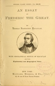 Cover of: An essay on Frederic the Great