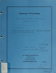 Cover of: Transcript of proceedings