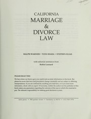 Cover of: California marriage & divorce law | Ralph E. Warner