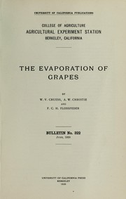 Cover of: The evaporation of grapes