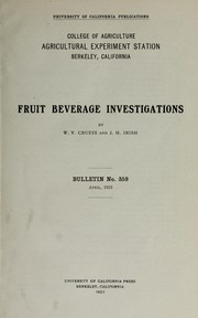 Cover of: Fruit beverage investigations