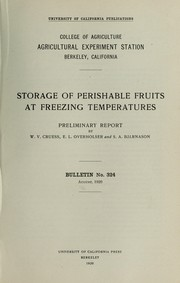 Cover of: Storage of perishable fruits at freezing temperatures