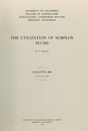 Cover of: The utilization of surplus plums