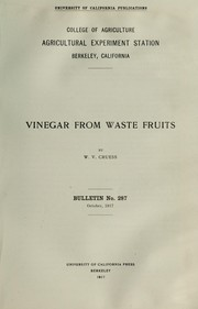 Cover of: Vinegar from waste fruits