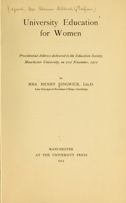 Cover of: University education for women