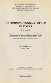 Cover of: Determining tonnage of hay in stacks