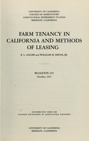Cover of: Farm tenancy in California and methods of leasing