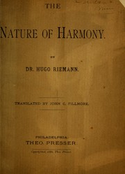 Cover of: The nature of harmony